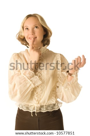 An isolated photo of a young woman dreaming about presents - stock photo