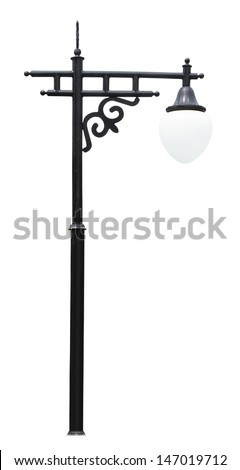 An isolated photo of an old street lamp post - stock photo
