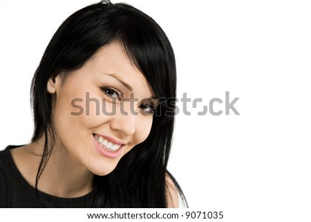 An isolated portrait of a beautiful businesswoman - stock photo