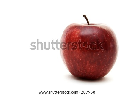 An isolated red apple on white background