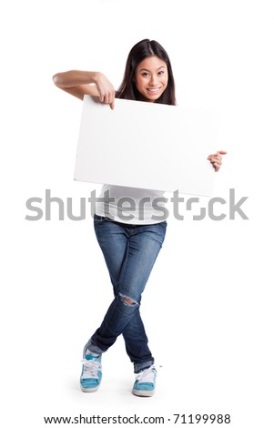 An isolated shot of a beautiful asian woman holding a blank poster - stock photo