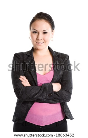 An isolated shot of a beautiful businesswoman - stock photo