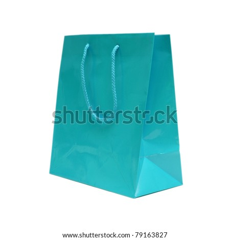 An isolated shot of a blue gift bag to put that special gift in.