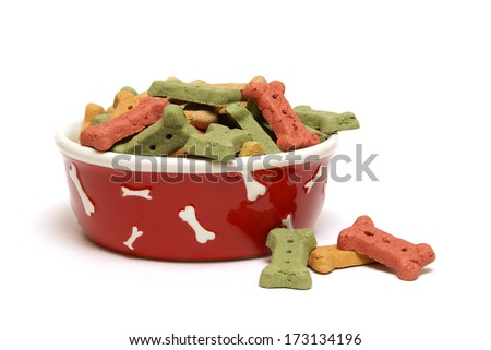 An isolated shot of a bowl full of dog treats. - stock photo