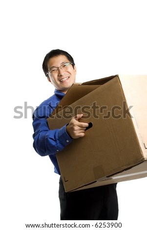 An isolated shot of a businessman carrying a box, can be used as business moving concept - stock photo