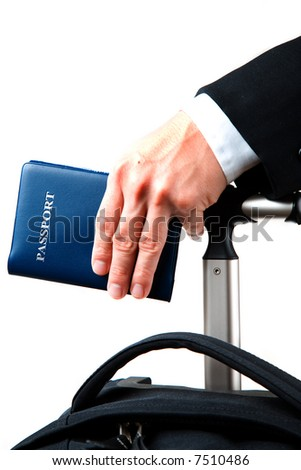 An isolated shot of a businessman carrying a luggage and a passport, can be used for business travel concept - stock photo