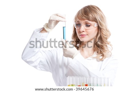 An isolated shot of a female scientist