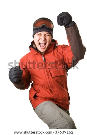 An isolated shot of a happy asian snowboarder - stock photo