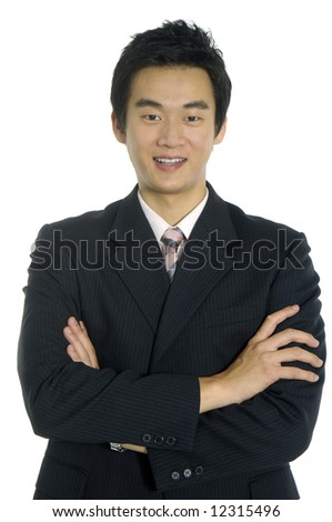 An isolated shot of a smiling businessman - stock photo