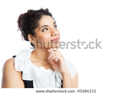 An isolated shot of a thinking black businesswoman - stock photo