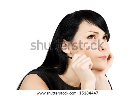 An isolated shot of a thinking businesswoman - stock photo