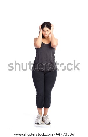 An isolated shot of a unhappy woman standing on a weight scale