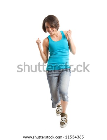 An isolated shot of an excited beautiful young african american woman - stock photo