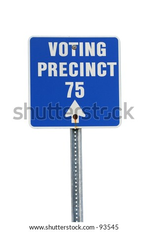 An isolated sign points to voting precinct 75. - stock photo