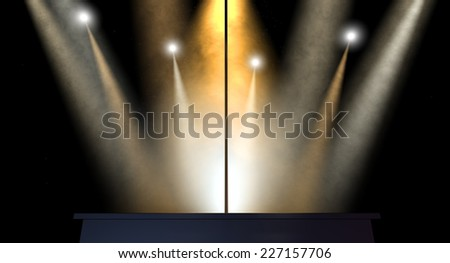 An isolated stripper pole on a stage lit by an array of spotlights on a dark background