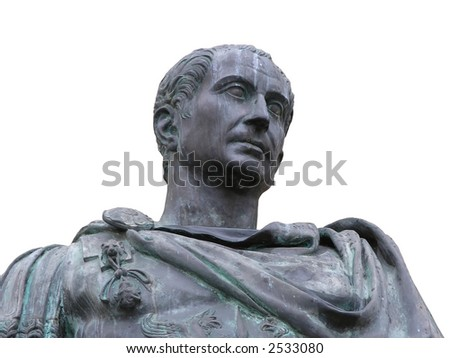 An isolated view from the bottom of a roman emperor Julius Caesar statue - stock photo