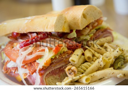 An italian sub sandwich on french roll with fresh pasta salad - stock photo