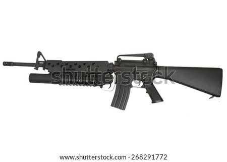 An M16 rifle equipped with an M203 grenade launcher isolated on white background - stock photo