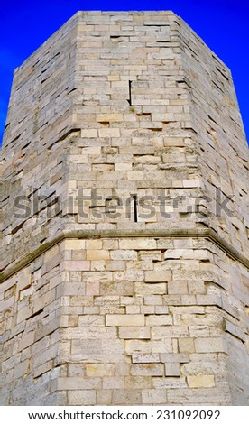 An octagonal tower of Castel del Monte, Apulia, Italy - stock photo