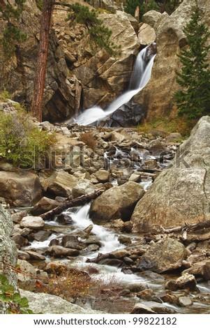 An October view of Boulder Falls above Boulder Colorado in Boulder Canyon. - stock photo