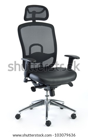 an office chair made of black mesh and leather isolated on a white background - stock photo