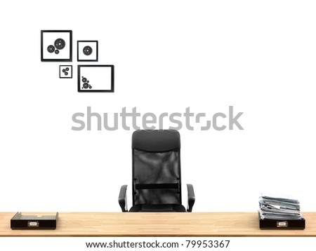 An office desk with office items in a work place scene