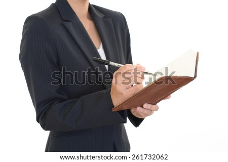 An office lady who has a notebook