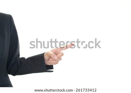 An office lady who pointing right side