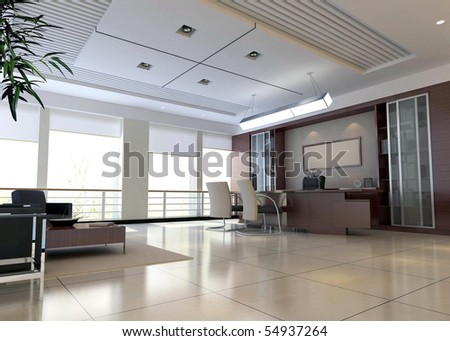 an office room with nobody. 3D render - stock photo