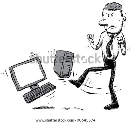 An office worker kicks his computer out of frustration.