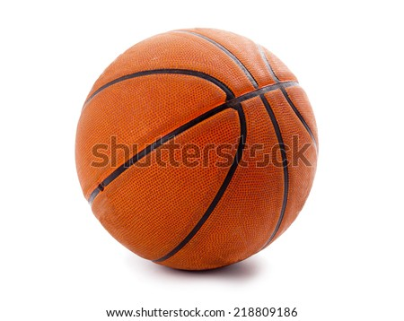 An official orange basketball isolated over white - stock photo