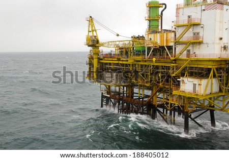 An offshore oil platform  - stock photo