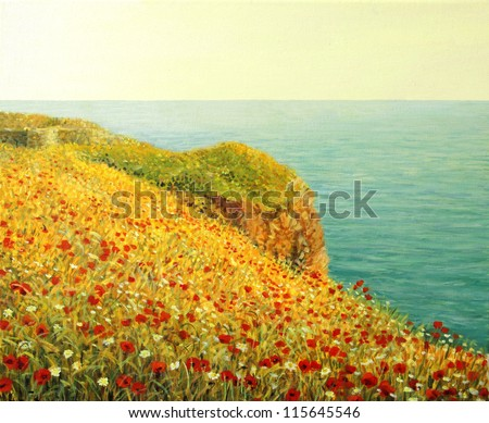 An oil painting on canvas of a beautiful seascape with vivid red poppies at the Black sea coast in the warm light of the sunset. - stock photo