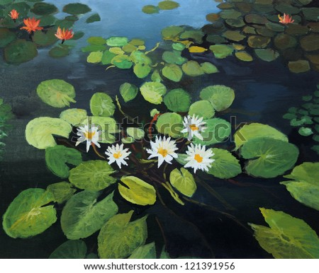 An oil painting on canvas of a colorful pond with beautiful water lilies, lotus flowers and the sky reflection on the water surface. - stock photo