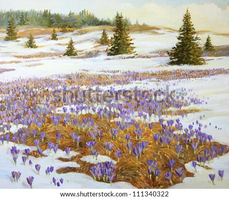 An oil painting on canvas of a meadow with patches of snow and blooming violet crocus flowers. Early spring seasonal theme high up in the mountains. - stock photo