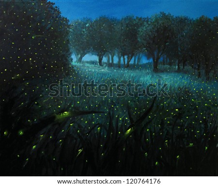 An oil painting on canvas of a night scene with fireflies and forest meadow shining in bright blue by the moon light, creating a fairy tale feeling about the landscape. - stock photo