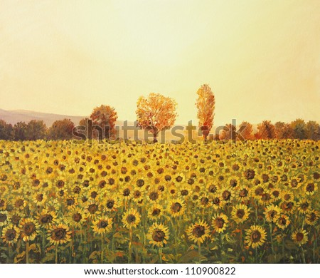 An oil painting on canvas of a rural sunset landscape with a golden sunflower field lit by the warm light of the setting sun and trees colored in orange at the background. - stock photo