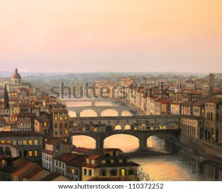 An oil painting on canvas of a sunset over Florence ( Firenze ) with the river Arno and famous Ponte Vecchio enlighten by the warm sunlight. - stock photo