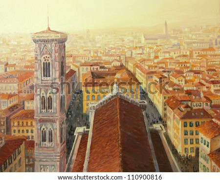 An oil painting on canvas of an aerial city view of Florence in Italy with Giotto's bell tower and the cathedral in the warm golden light of the sunset. - stock photo