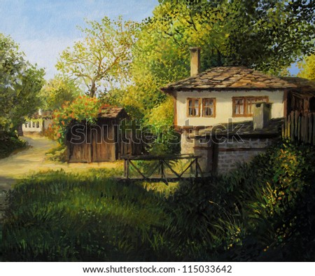 An oil painting on canvas of an old house in the secluded mountain village Bojenci. Colorful rural landscape in the warm light of the late July afternoon. - stock photo