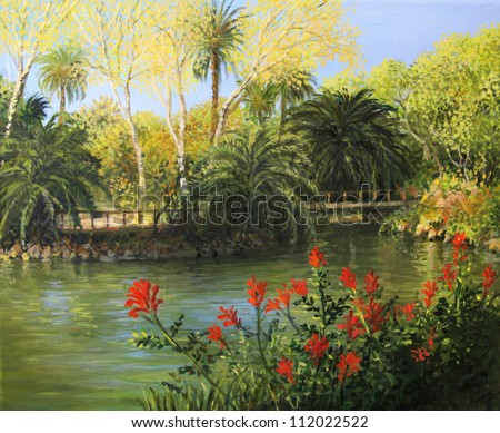 An oil painting on canvas of the formal gardens with the lake in Parc de la Ciutadella, Barcelona in the last days of the summer with vibrant red flowers front of the landscape. - stock photo