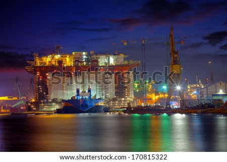 An Oil Rig under construction in the yard of Gdansk, Poland. - stock photo