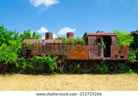 An old abandoned and rusty steam locomotive overgrown with branches and green bushes standing on an unused railway with dry grass and blue sky. - stock photo