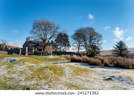 An old abandoned farmhouse used as a film location at Ditsworthy Warren near Sheepstor on Dartmoor National Park in Devon - stock photo