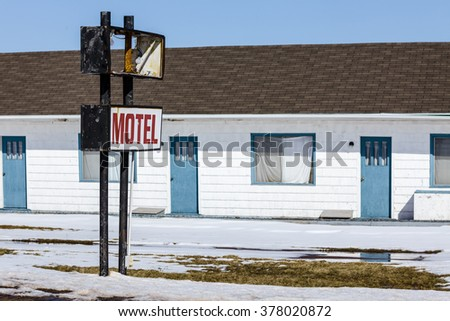 An old abandoned North American motel. - stock photo