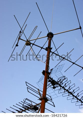 An old antenna against the blue sky