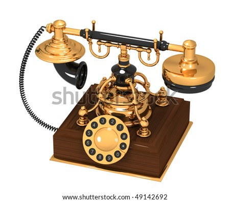 An old antique retro phone over white background