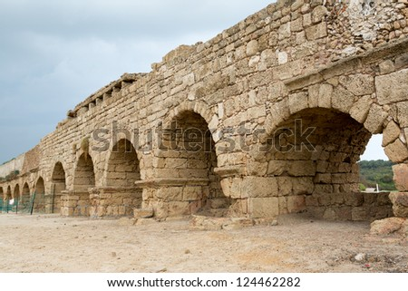 An old aqueduct in the city Ceasaria in Israel