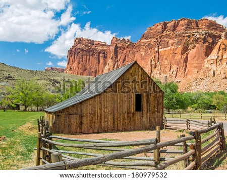 An old barn stands in Fruita, Utah, a now abandoned settlement in Capitol Reef National Park. - stock photo