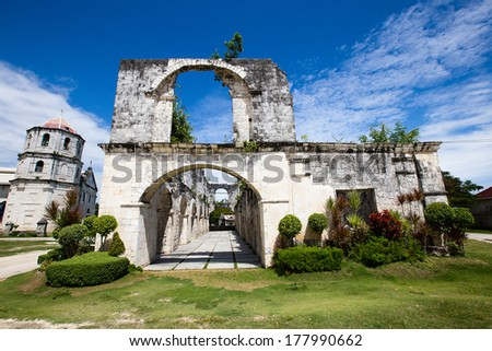 An old baroque church in the Oslob, Philippines. - stock photo